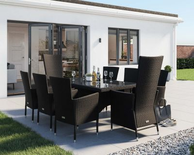Cambridge 2 Reclining + 6 Non-Reclining Rattan Garden Chairs and Rectangular Dining Table Set in Black and Vanilla