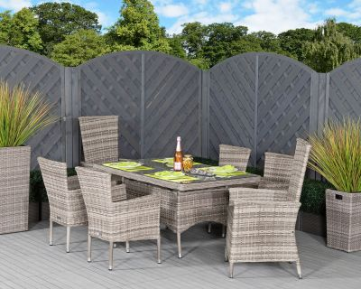 Cambridge 2 Reclining + 4 Non-Reclining Rattan Garden Chairs and Small Rectangular Table Set in Grey