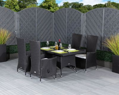 Cambridge 4 Reclining Chairs and Small Rectangular Dining Table Set in Black and Vanilla