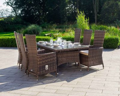 Cambridge 6 Reclining Chairs and Rectangular Dining Table in Premium Truffle Brown and Champagne