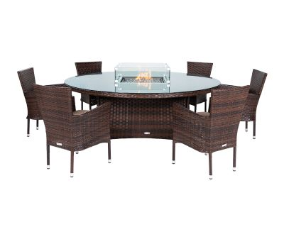 Cambridge 6 Stacking Chairs and Large Round Fire Pit Table Set in Chocolate & Cream
