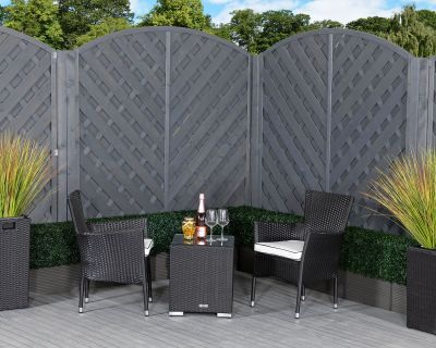 Cambridge Rattan Garden Bistro Square Set in Black and Vanilla