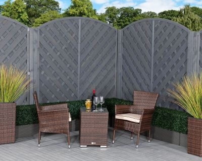 Cambridge Rattan Garden Bistro Square Set in Chocolate and Cream