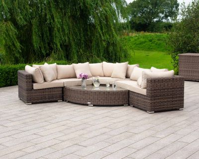 Florida 6 Piece Angled Rattan Garden Corner Sofa Set in Premium Truffle Brown and Champagne