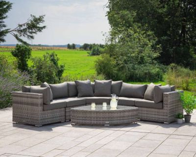 Florida 6 Piece Angled Rattan Garden Corner Set in Grey