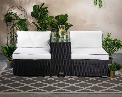 Florida Rattan Garden High Bistro Set in Black and Vanilla