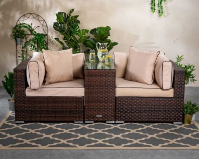 Florida Rattan Garden Armed High Bistro Set in Chocolate and Cream