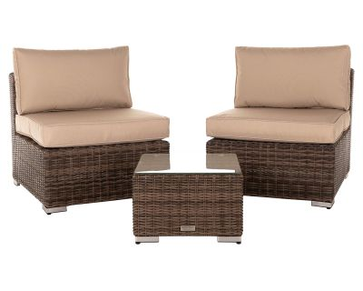 Florida Bistro Set with Small Square side Table - Premium Truffle Brown and Champagne