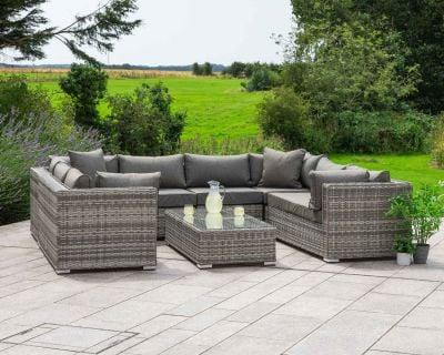 Geneva 7 Piece Rattan Garden Corner Sofa Set in Grey