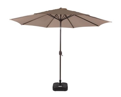 Market Parasol And Plastic Base in Chocolate and Cream