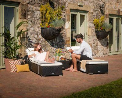 Miami Rattan Garden Sun Lounger Set in Black & Vanilla