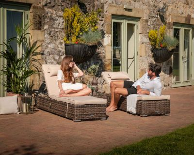 Miami Rattan Garden Sun Lounger Set in Truffle & Champagne
