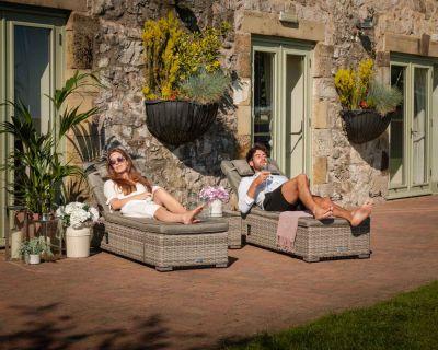 Miami Rattan Garden Sun Lounger Set in Grey