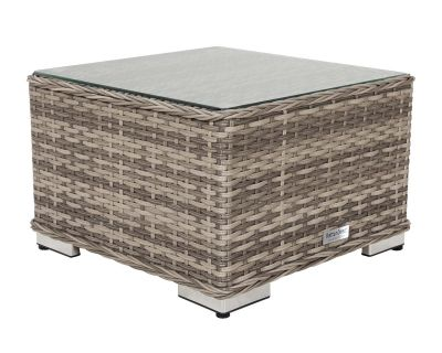 Small Square Rattan Garden Side Table in Grey