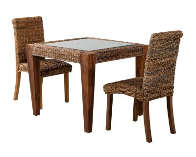 Small Rattan Dining Table With Two Chairs