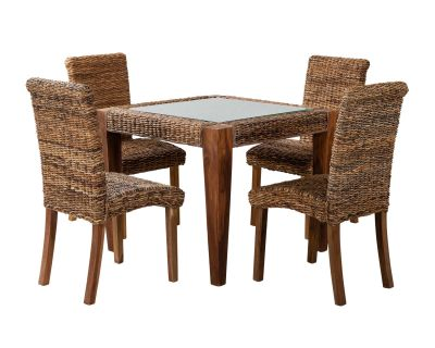 Small Rattan Dining Table With Four Chairs