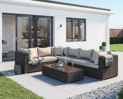Monaco Rattan Garden Righthand Corner Sofa Set in Premium Truffle Brown and Champagne