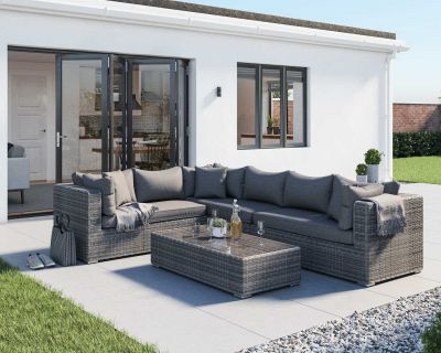 Monaco Rattan Garden Righthand Corner Set in Grey