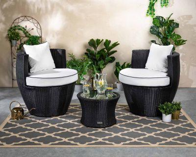 Orlando Rattan Garden Vase Set in Black and Vanilla