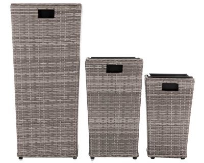 Rattan Plant Pot 3 Piece Set in Grey