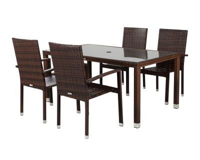Rio 4 Armed Rattan Garden Chairs and Open Leg Rectangular Table Set in Chocolate Mix and Coffee Cream