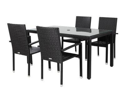 Four Seater Black Rattan Dining Set