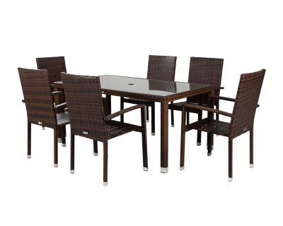 Rectangular Rattan Brown Table With 6 Chairs