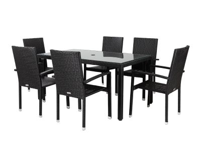 Rio 6 Armed Rattan Garden Chairs and Open Leg Rectangular Table Set in Black and Vanilla