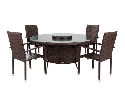 Rio 4 Armed Stacking Rattan Garden Chairs and Large Round Dining Table in Chocolate and Cream