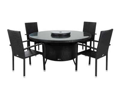 Rio 4 Armed Stacking Rattan Garden Chairs and Large Round Dining Table in Black and Vanilla