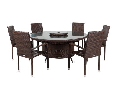 Rio 6 Armed Stacking Rattan Garden Chairs and Large Round Dining Table in Chocolate and Cream