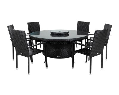 Rio 6 Armed Stacking Rattan Garden Chairs and Large Round Dining Table in Black and Vanilla