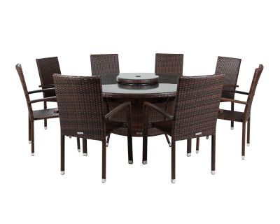 Rio 8 Armed Stacking Rattan Garden Chairs and Large Round Dining Table in Chocolate and Cream