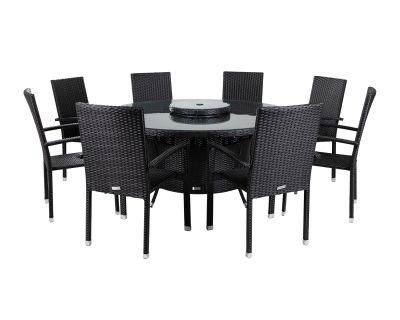 Rio 8 Armed Stacking Rattan Garden Chairs and Large Round Dining Table in Black and Vanilla