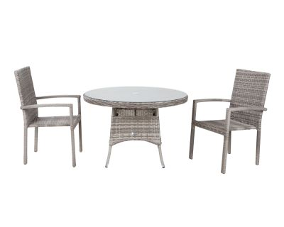 Rio 2 Stackable Chairs and Small Round Dining Table in Grey