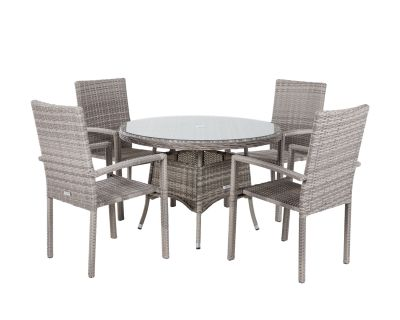 Rio 4 Stackable Chairs and Small Round Dining Table in Grey