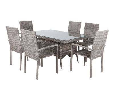Rio 6 Stackable Chairs and Small Rectangular Dining Table in Grey