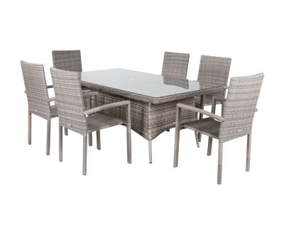Rio 6 Stackable Chairs and Rectangular Dining Table in Grey