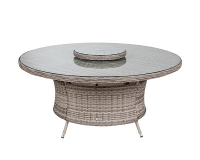 Large Round Rattan Garden Dining Table with Lazy Susan in Grey