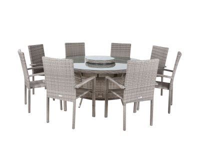 Rio 8 Stackable Chairs and Large Round Dining Table in Grey