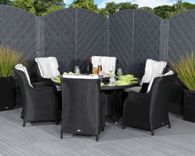 Riviera 6 Dining Chairs and Large Round Table in Black and Vanilla