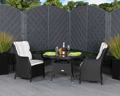 Riviera 2 Dining Chairs and Small Round Table in Black and Vanilla