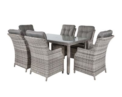 Riviera 6 Dining Chairs and Rectangular Open Leg Table in Grey
