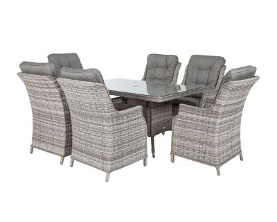 Riviera 6 Dining Chairs and Small Rectangular Dining Table in Grey