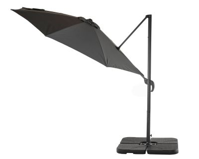 Rotating Cantilever Parasol and Plastic Base in Grey