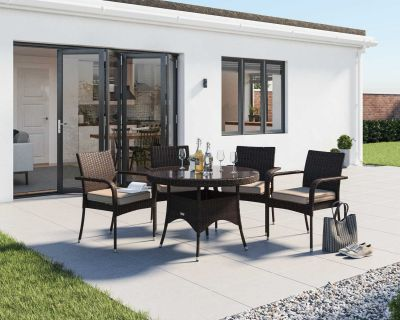 Roma 4 Rattan Garden Chairs and Small Round Dining Table Set in Chocolate and Cream