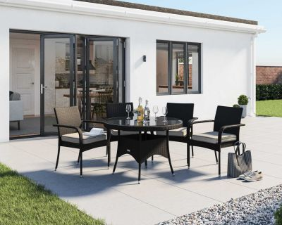 Roma 4 Rattan Garden Chairs and Small Round Table Set in Black and Vanilla