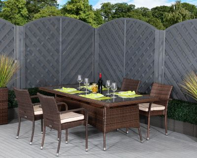 Roma 4 Rattan Garden Chairs and Rectangular Table Set in Chocolate and Cream