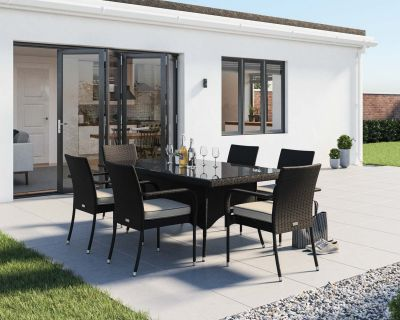 Roma 6 Rattan Garden Chairs and Rectangular Table Set in Black & Vanilla