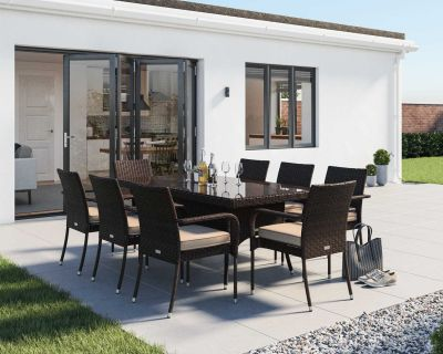 Roma 8 Rattan Garden Chairs and Rectangular Dining Table Set in Chocolate and Cream